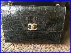100% Authentic Chanel Vintage Black Alligator Crocodile
