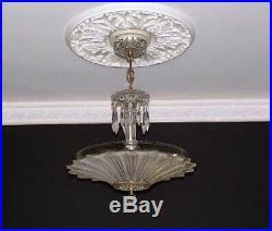 167c Vintage 40's Ceiling Light Lamp Fixture Chandelier antique SUNFLOWER
