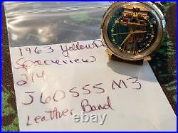 1963 Bulova Accutron Large dial Spaceview Watch 214 Yellow dot rare Runs Gr8