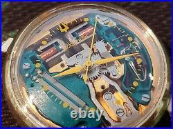 1964 Bulova Accutron Large dial Spaceview Watch 214 Yellow dot rare Runs Gr8