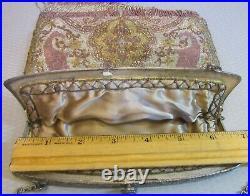 20s fine antique CUT STEEL PURSE exquisite large beaded bag pink original fringe