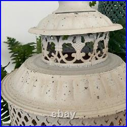 2 White Large Garden Metal Lanterns French Country Antique Vintage Style Candle