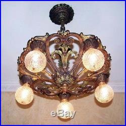 666 Vintage aNTIQUE Ceiling Light lamp fixture art nouveau polychrome chandelier