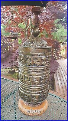Antique BRASS PRAYER WHEEL Large 31 Tibetan Buddhist Chinese HANDMADE Vtg RARE