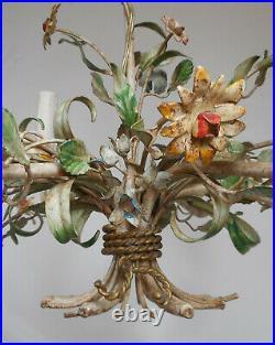 Antique Italian Florentine Tole Chandelier Ceiling Light 6 Arms Flowers Vtg