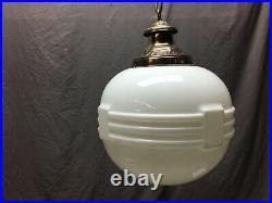 Antique Large Art Deco Hanging Milk Glass Globe Brass Decorative Vtg 1186-20B