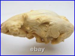 Antique Large VTG Carved Meerschaum Pipe Bear Hunting Hunter Tree 14KT GOLD Band