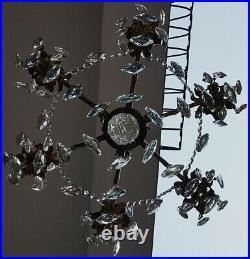 Antique Vintage 6 Arms Cast Brass & Crystals Cherub Chandelier Lighting Lamp