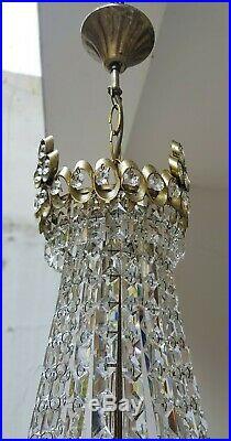 Antique Vintage Brass & Crystals French LARGE Chandelier Lighting Lamp Light