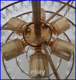 Antique Vintage Brass & Crystals HUGE French Chandelier Lighting Ceiling Lamp
