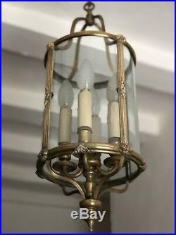 Antique Vintage French Large Bronze Circular Lantern 4 Light Pendant