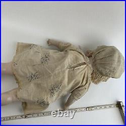 Antique Vintage Large Composition Cloth Doll Creepy Haunted Prop Sleepy Eyes