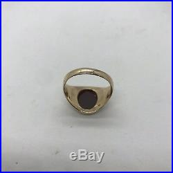 Antique vintage 18k yellow gold oval carnelian men's ring large 11.7g signet