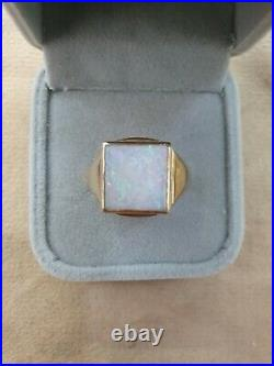 Antique vintage Hallmarked 9k Yellow Gold Large Opal Ring Size U 1/2