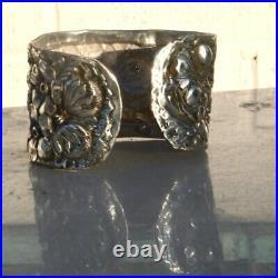 Art Nouveau Sterling 925 Floral Cuff Bracelet XL Extra Large Size 8 Antique VTG
