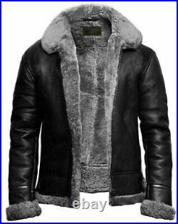 B3 Bomber Flying RAF Aviator Real Sheep Skin Leather Jacket for Men Fur Collar