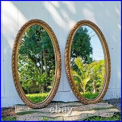 Beautiful Pair Large Ornate Hollywood Regency Gold Vintage Molded Mirrors Vanity
