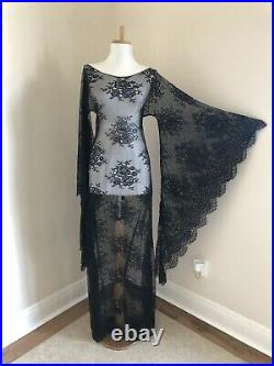 Black Boho Sheer Lace Gown simple Victorian Long Bell Sleeve Wedding DRESS