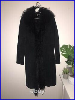 Black Genuine Suede Coat Jacket Real Mongolian Trim L Afghan PennyLane Simone