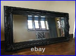Black Gothic Large French Boudoir Statement Vintage Over mantle Wall Mirror 5ft