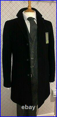Black Wool Cashmere Overcoat Vintage 3/4 Length New Coat Cromby 36 38 40 42