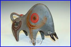 Bruno Gambone Vintage Italian Pottery Bull Animal Figure Large Raymor Era 13x10