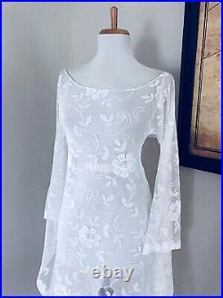 Custom BoHo Sheer CUT OUT Hippy Wedding Maxi DRESS Vtg 70s White Crochet Lace LG