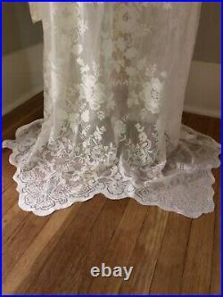 Custom Sheer Cream Lace Large XL BoHo Hippie Bell Sleeve Wedding Maxi DRESS