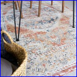 Distressed Terracotta Living Room Rug Small Large Flat Woven Rugs Hall Runners