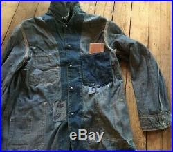 Double rl Denim Jean Jacket, Men's RRL, Sz L engineer coat vintage patches