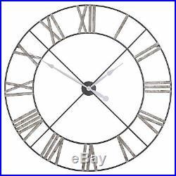 Extra Large 110cm Vintage Distressed Industrial Metal Skeleton Wall Clock