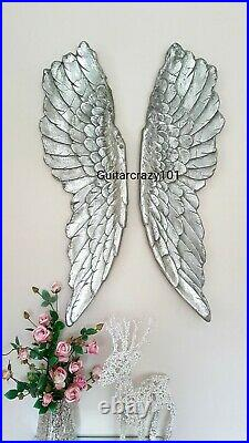 Extra Large Pair of ANGEL WINGS Wall Hanging aged silver finish 104cm