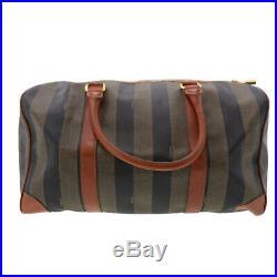 FENDI Pequin Striped Boston Hand Bag Brown Black PVC Vintage Auth JUNK #AA598