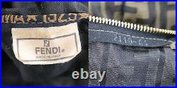 FENDI Zucca Pattern Travel Hand Bag Brown Black Nylon Vintage Authentic #QQ415Y