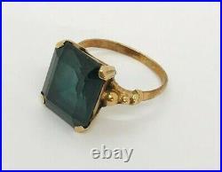 Fine Vintage Large 9 Ct Gold 4.00 Ct Tourmaline Gemstone Cocktail Ring 4.9 Grams