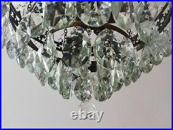 French Basket Style Vintage Brass & Crystals Chandelier Antique Lamp 208-3