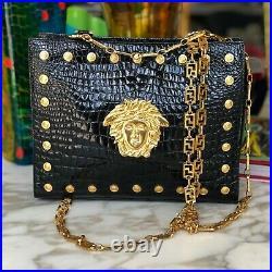 GIANNI VERSACE shoulder bag black croc embossed gold tone chain strap & Medusa