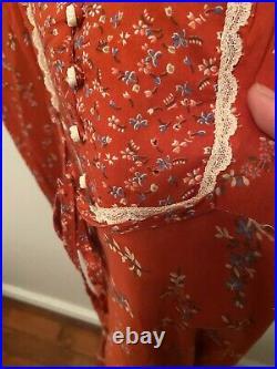 GUNNE SAX VTG 1970S Red Floral Print Lace Red Midi Prairie Lace Boho Dress L