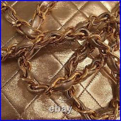 Gorgeous Vintage Metallic Gold Authentic Chanel Bag