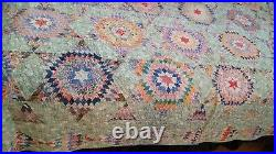 HAND SEWN VINTAGE ANTIQUE HAND MADE 76 x 88 DATED 1935 TINY 7700+ PC STAR QUILT