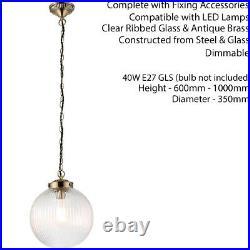 Hanging Ceiling Pendant LightBRASS & RIBBED GLASSLarge Round Lamp Shade Holder