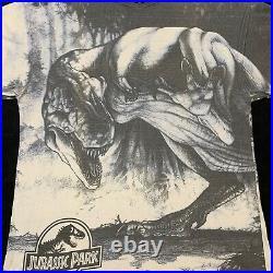 Jurassic Park Vintage Shirt T Rex All Over Print Hanes Single Stitch Mens XL