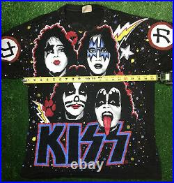 KISS Rare Vintage Early 90's All Over Graphic Print Single Stitch Band T Shirt