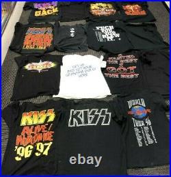 LOT OF 19 VINTAGE KISS Shirts NOS Rare Concert Gene Simmons Tour Rock 80's 90's