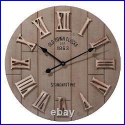 Large 60cm Outdoor Garden Wooden Wall Clock Big Roman Numerals Round Face Decor