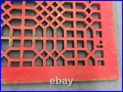 Large Antique Cast Iron Cold Air Return Vent Vtg Grill Waffle 24x18 696-17E