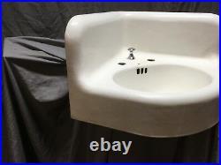 Large Antique Cast Iron White Porcelain Corner Sink Vtg Bath Kohler Old 597-18E