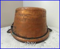 Large Antique Vtg Hammered Copper Pot, Bucket, Planter withForged Iron Handle