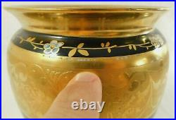 Large Antique/Vtg Osborne Limoges France Black Floral 24K Gold Gilt Flower Vase