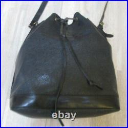 Large Authentic Vintage Mulberry Black Scotcgrain/ Leather Sharpham Shoulder Bag